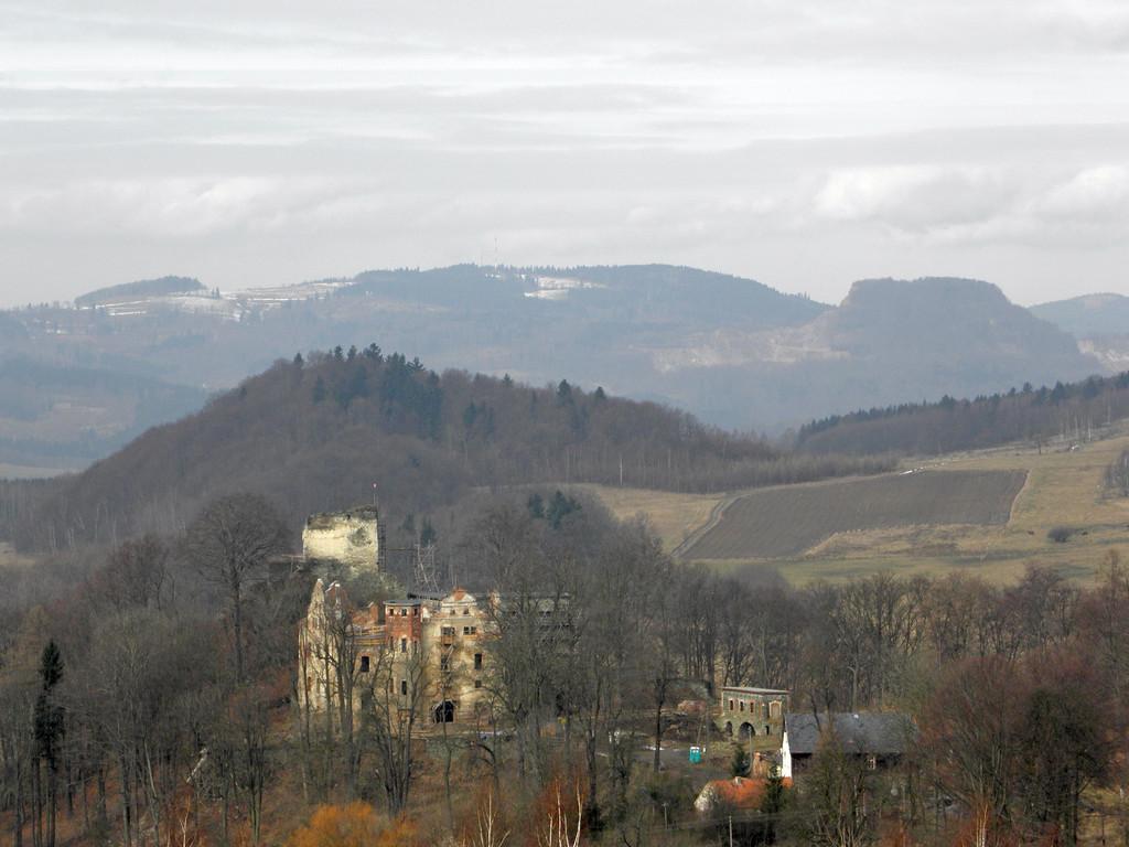 Widok spod Wilczej Góry na zamek Niesytno